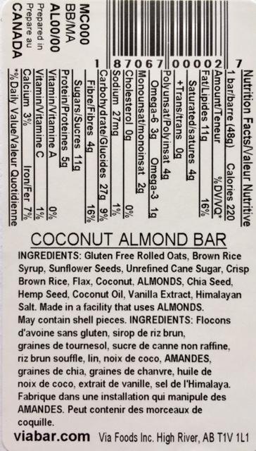 Coconut Almond info